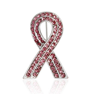 Elegant breast cancer logo high - grade diamond AIDS pink ribbon brooch clothing accessories
