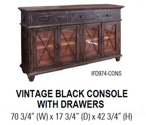 Vintage Black Console with Drawers