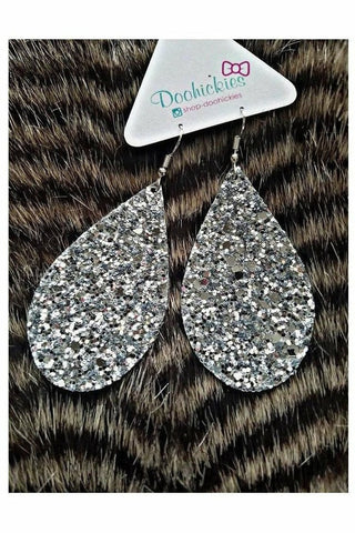 Silver Chunky Glitter Teardrop Earrings
