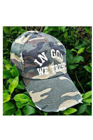 In God We Trust Distressed Camo Hat