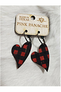 Pink Panache Heart Shaped Plaid Cork Earrings