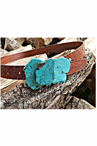 Triple Turquoise Slab Belt Buckle
