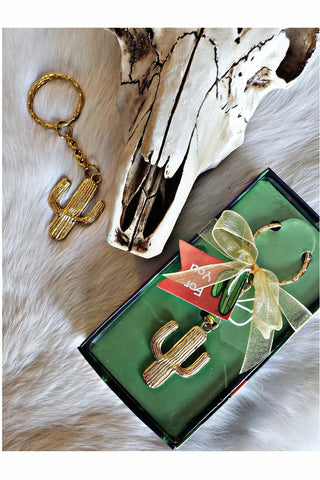 Gold Cactus Keychain