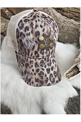 LV Leopard High Ponytail Hat