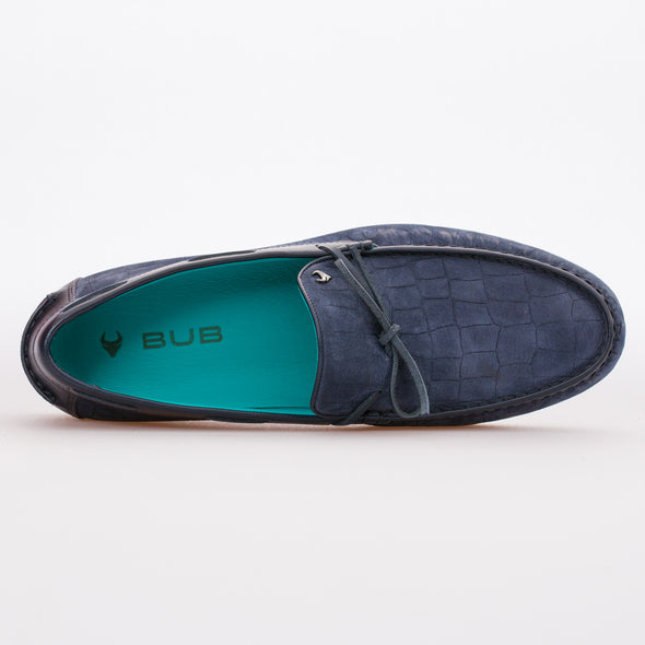 Tim - Dark Blue - Calf Nubuck Laced Loafer - BUB Leather Shoes
