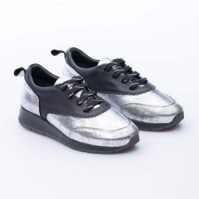 Sonya - Silver & Black - Leather - BUB Leather Shoes