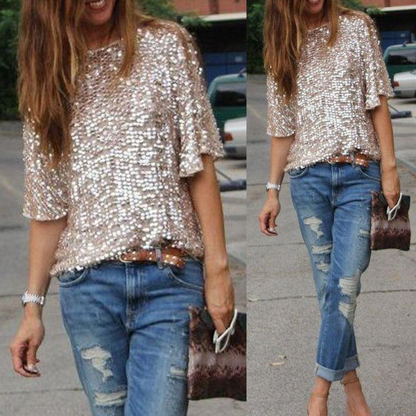 1/2 Sleeves Sequin Casual Loose Sexy Club Blouse - Shoes-Party - 2
