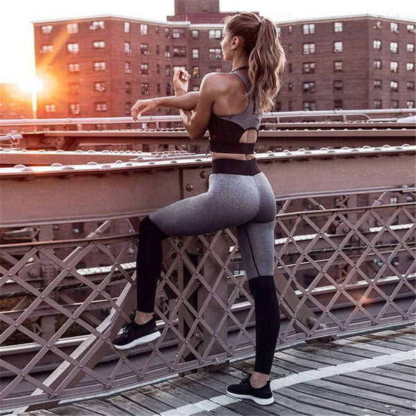 Patchwork Crop Top Long Skinny Leggings Women Two Pieces Yoga Sports Set