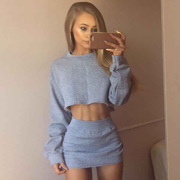 Solid Color Long Sleeves Crop Top with High Waist Short Skirt Women Two Pieces Set