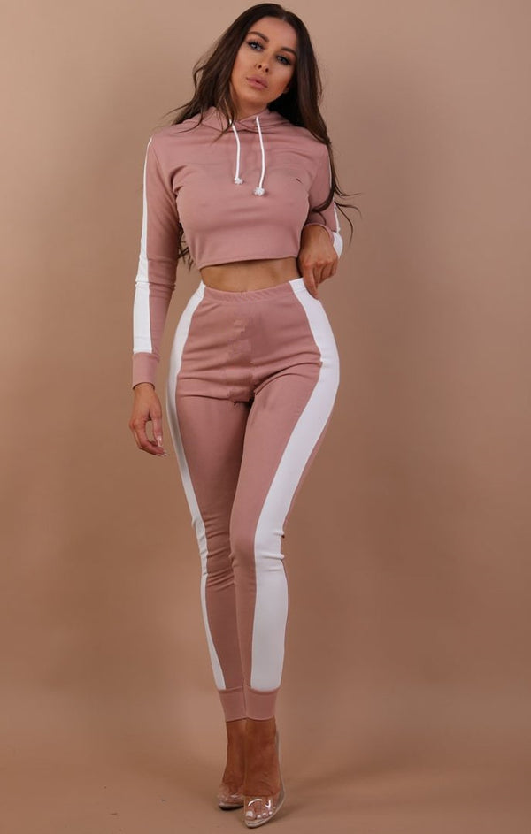 Color Patchwork Draw String Cropped  Hoodie with Long Skinny Pants Women Two Pieces Sports Set