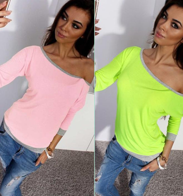Off-shoulder 7/10 Sleeves Patchwork Slim T-shirt - Shoes-Party - 1