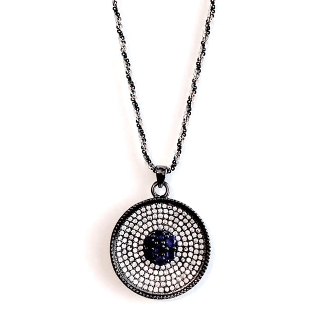 Cz Evil Eye pendant w/twisted rope chain