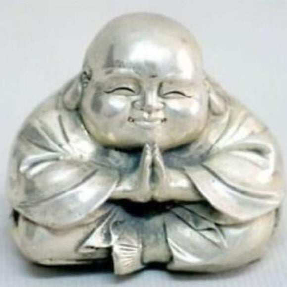 Old Tibet Silver Sitting Laughing Buddha Figurine