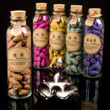 Backflow Incense Cones in Decorative Glass Bottle - 58 pieces