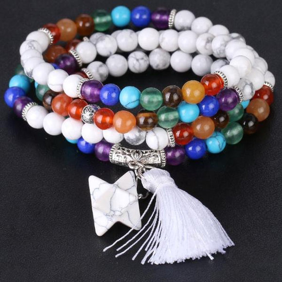 Buddhist Meditation Mala Beads -  White Howlite with 7 Chakra Stones