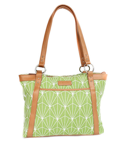 Green Art Deco Laptop Tote