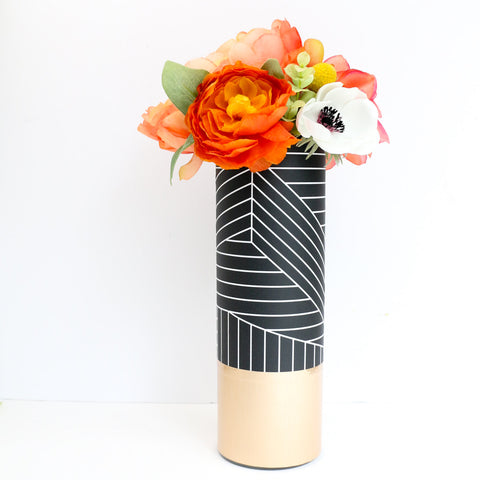 Black and White Graphic Pattern Wrapped Glass Flower Vase with Rose Gold Base