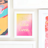 "Gradient Art Print Set- Four 5""by 7"" Gradient Art Prints in Coordinating Colors - Faux Gold Foil Typography"