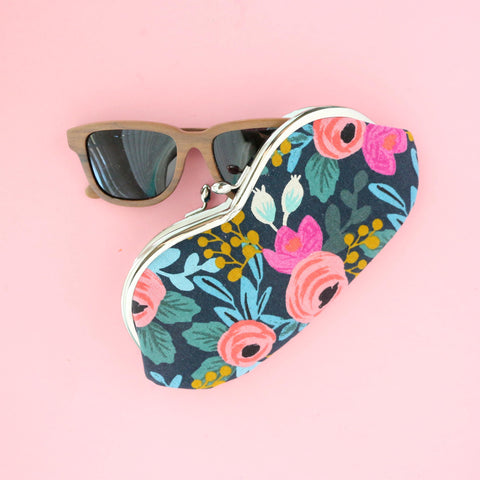 Floral Sunglasses Case in Rifle Paper Company Floral print- kisslock close