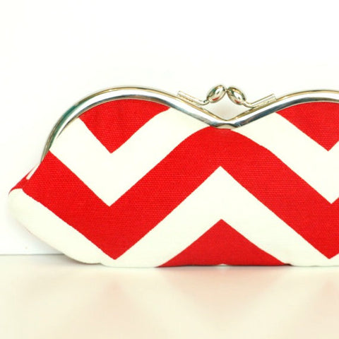 Red Chevron Sunglasses Case - Red and Mint Chevron Sunglass or Eyeglass Clutch
