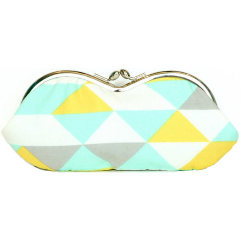 Triangle Sunglasses Case in Mint, Yellow, and Gray Fabric - Kisslock Sunglass or Eyeglass Clutch