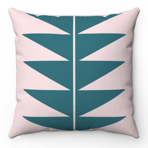 Teal And Pink Triangle Throw Pillow