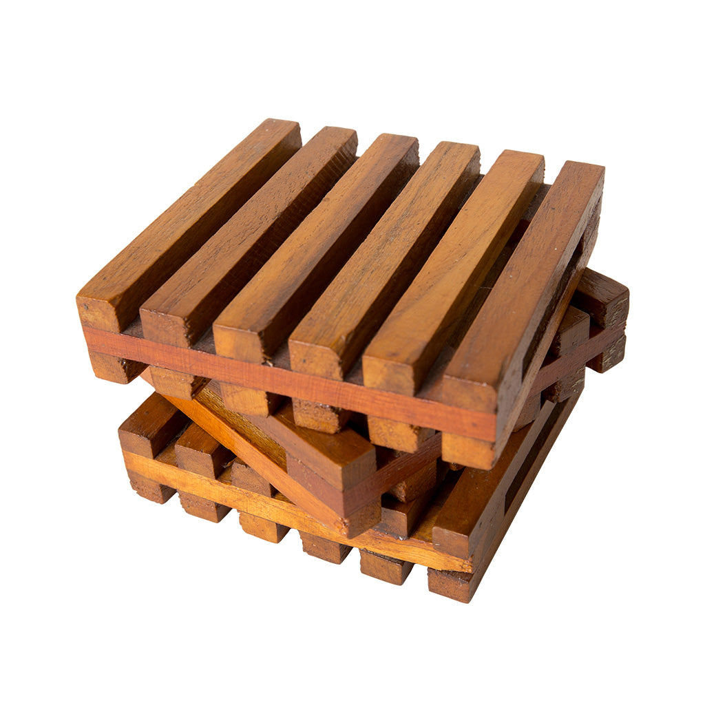 a stacked of wooden pallet coasters
