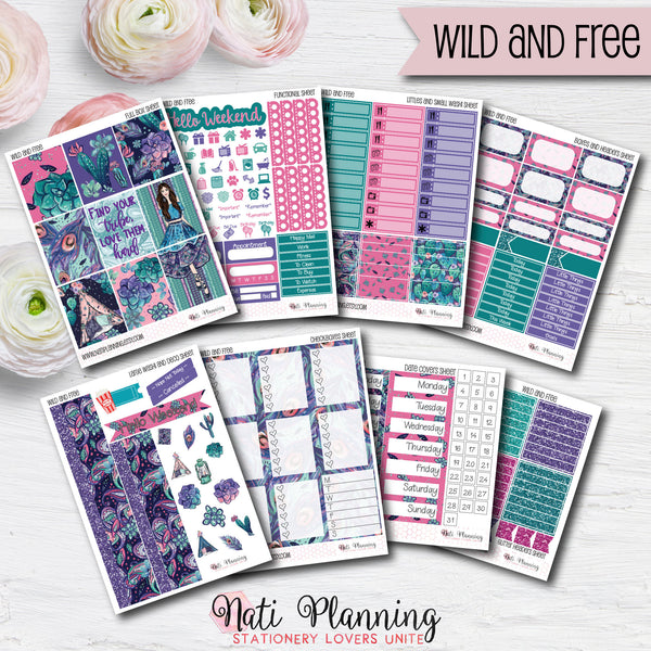 Wild and Free - Weekly VERTICAL Sticker Kit