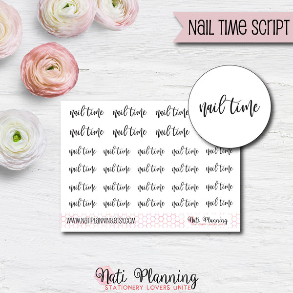 Nail Time Script Stickers