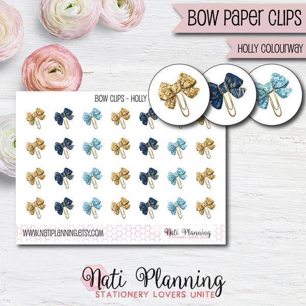 Bow Paper Clip Stickers - Holly Colourway