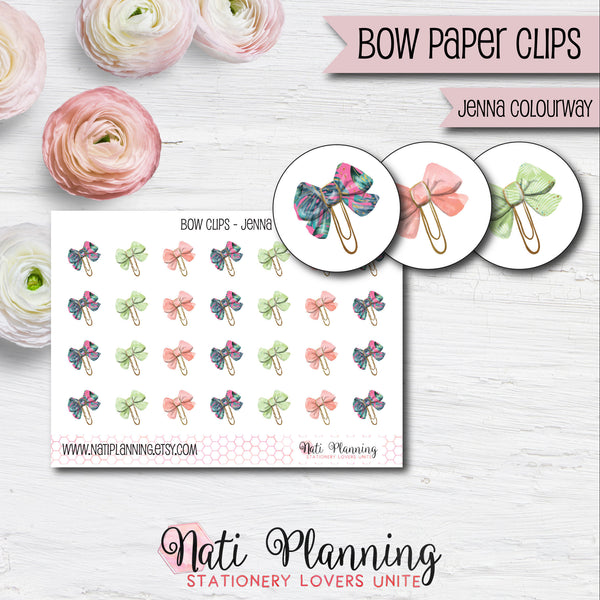 Bow Paper Clip Stickers - Jenna Colourway