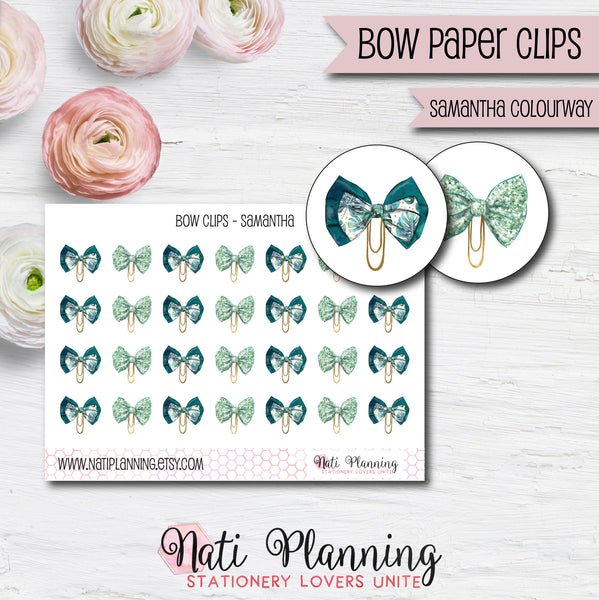 Bow Paper Clip Stickers - Samantha Colourway