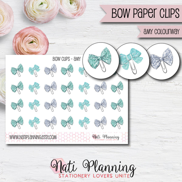 Bow Paper Clip Stickers - Amy Colourway