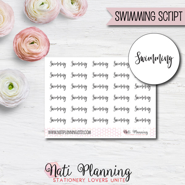 Swimming Script Stickers