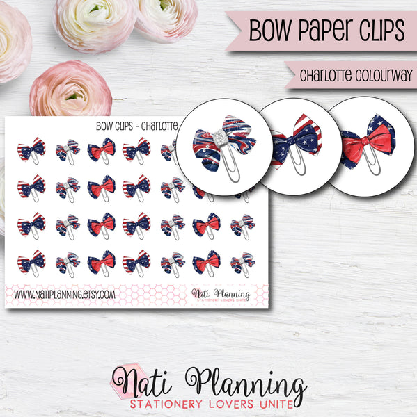 Bow Paper Clip Stickers - Charlotte Colourway