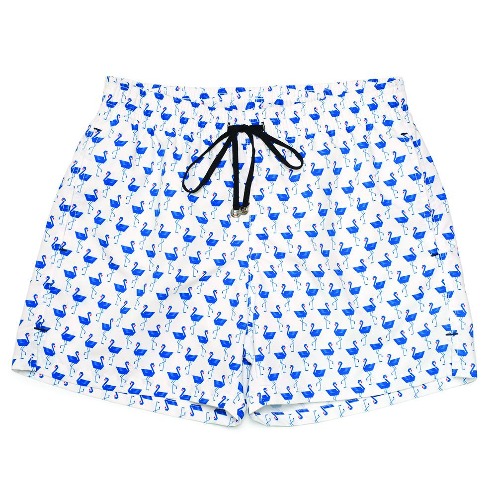 Mens Swimwear - Men's Corsaro Swim Trunk Flamingo - White⎪Etiquette Clothiers