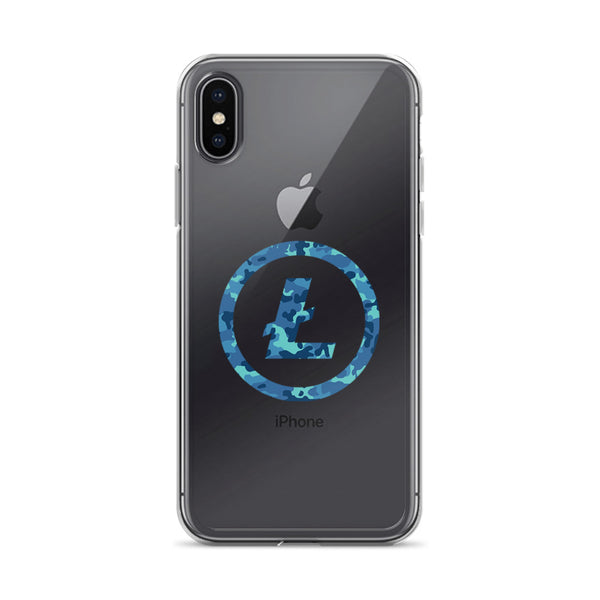 Litecoin Logo iPhone Case (Blue Camo)