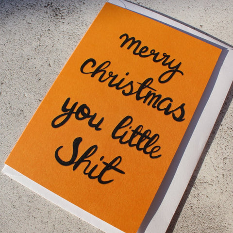 'Merry Christmas you little Shit' Christmas Card - fay-dixon-design