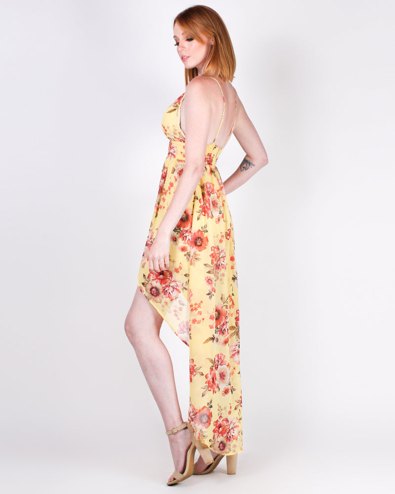 Never Enough Floral Maxi Dress (Yellow)