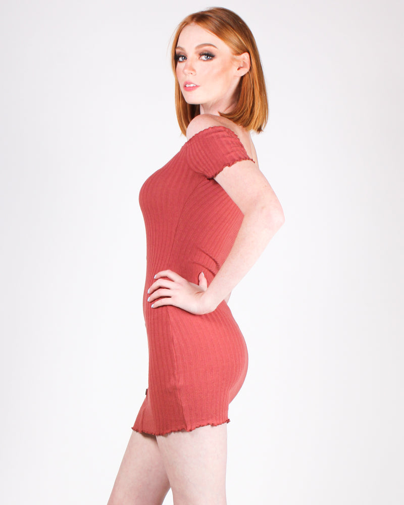 Find Joy Bodycon Dress (Rust)