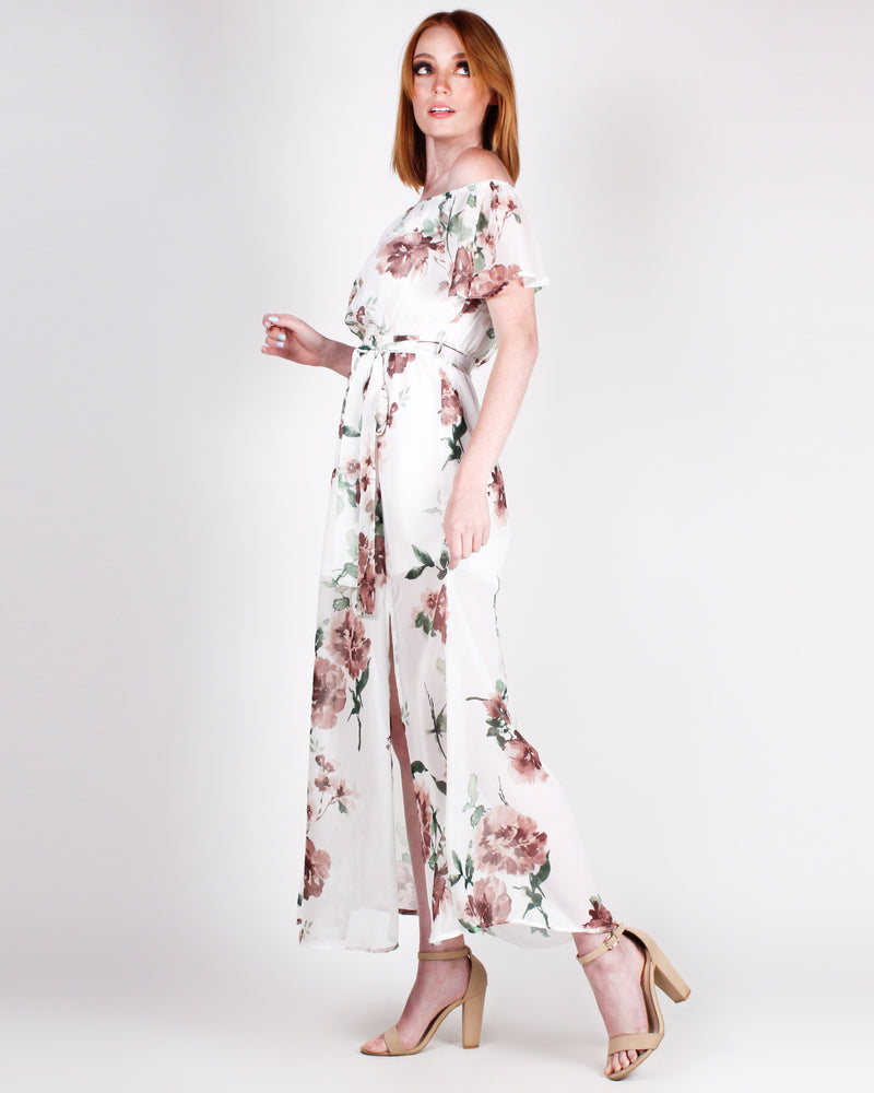 YOLO Floral Maxi Dress (White)