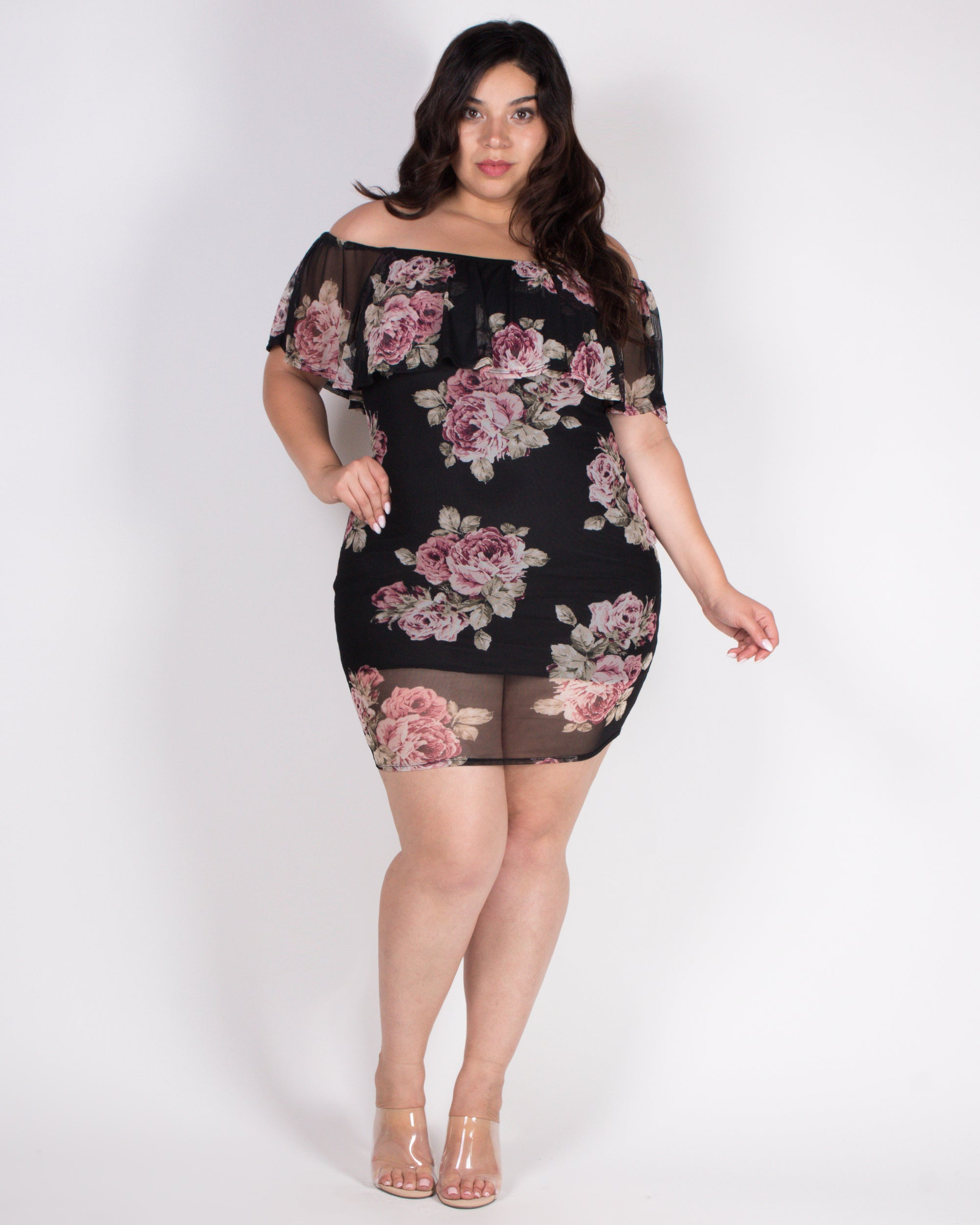 Live Life in Full Bloom Flounce Plus Dress (Black)