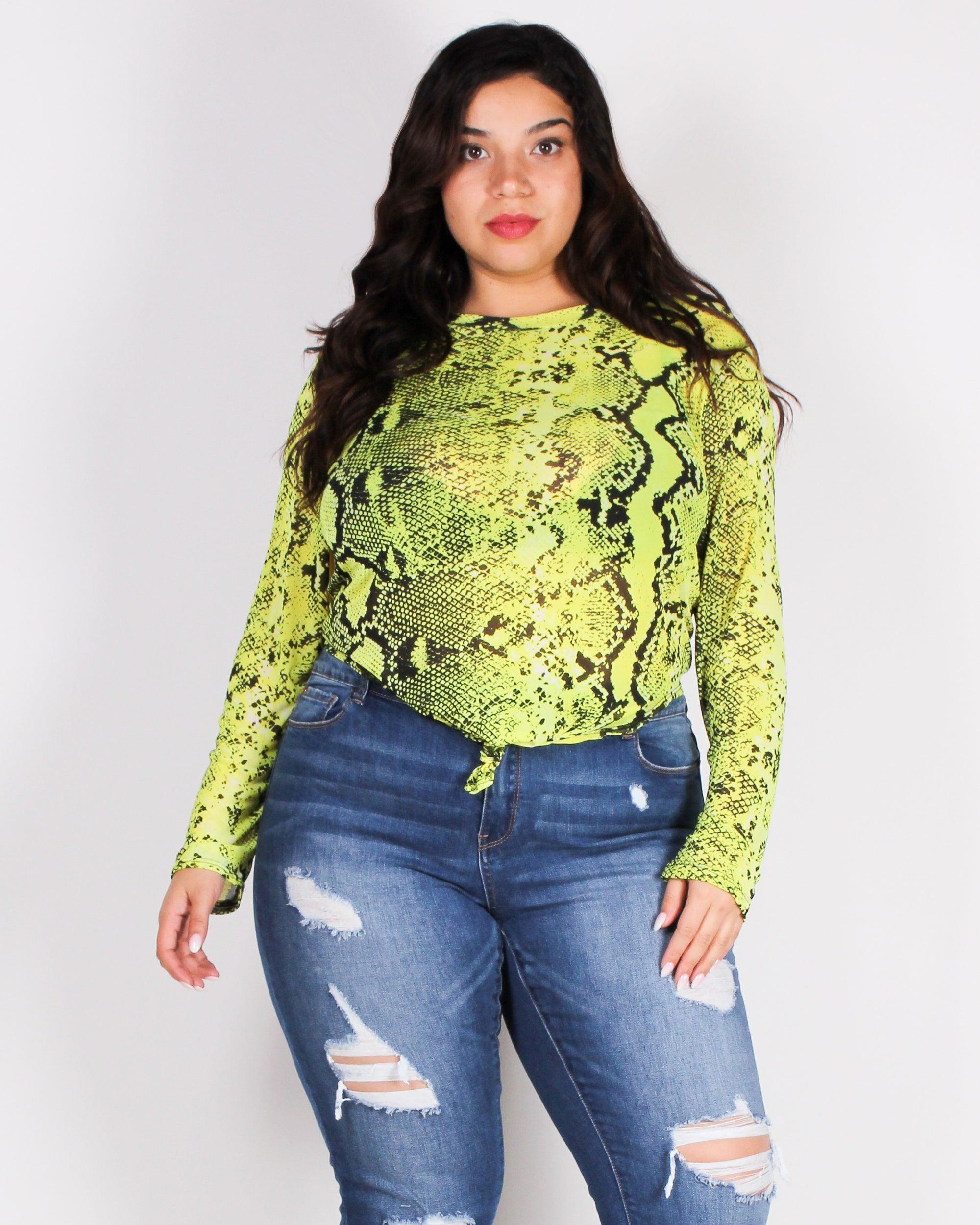 Be an Amazing Mesh Today Plus Top (Neon Yellow)