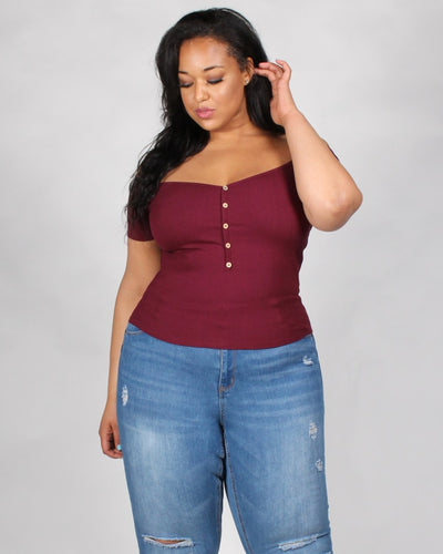 Hit Me With Your Best Shot Ribbed Plus Top 1X / Burgundy Tops