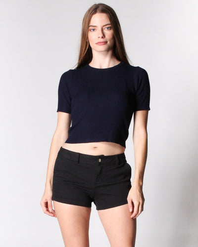 Right Here Now Ribbed Top S / Navy Tops