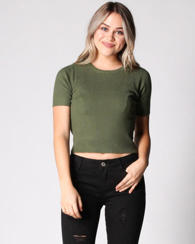Right Here Now Ribbed Top S / Olive Tops