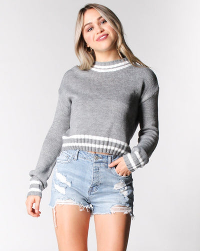 Where The Wild Stripes Are Knit Sweater S / Grey And White Tops
