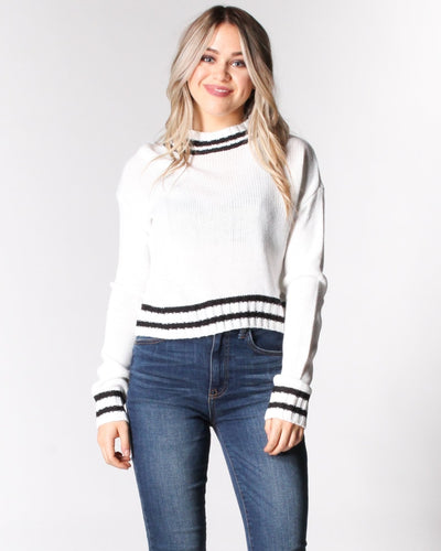 Where The Wild Stripes Are Knit Sweater S / White And Black Tops