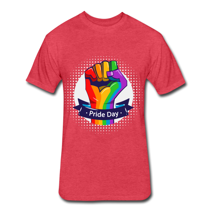 Fitted Cotton/Poly T-Shirt by Next Level - Pride Day - heather red