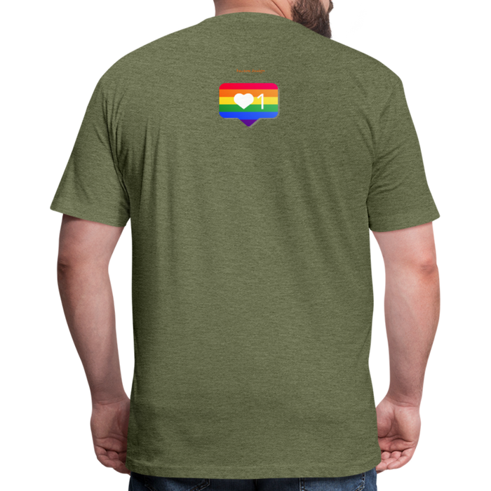 Fitted Cotton/Poly T-Shirt by Next Level - Love Wins Pride - heather military green